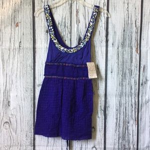 Free People Violet embroidered Tank Top sz 0